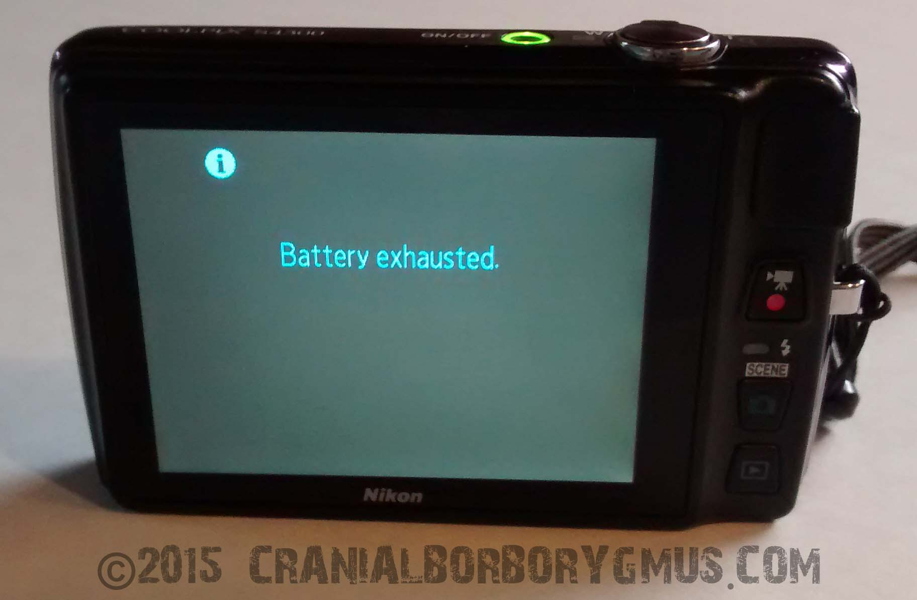 battery exhausted message on nikon coolpix digital camera